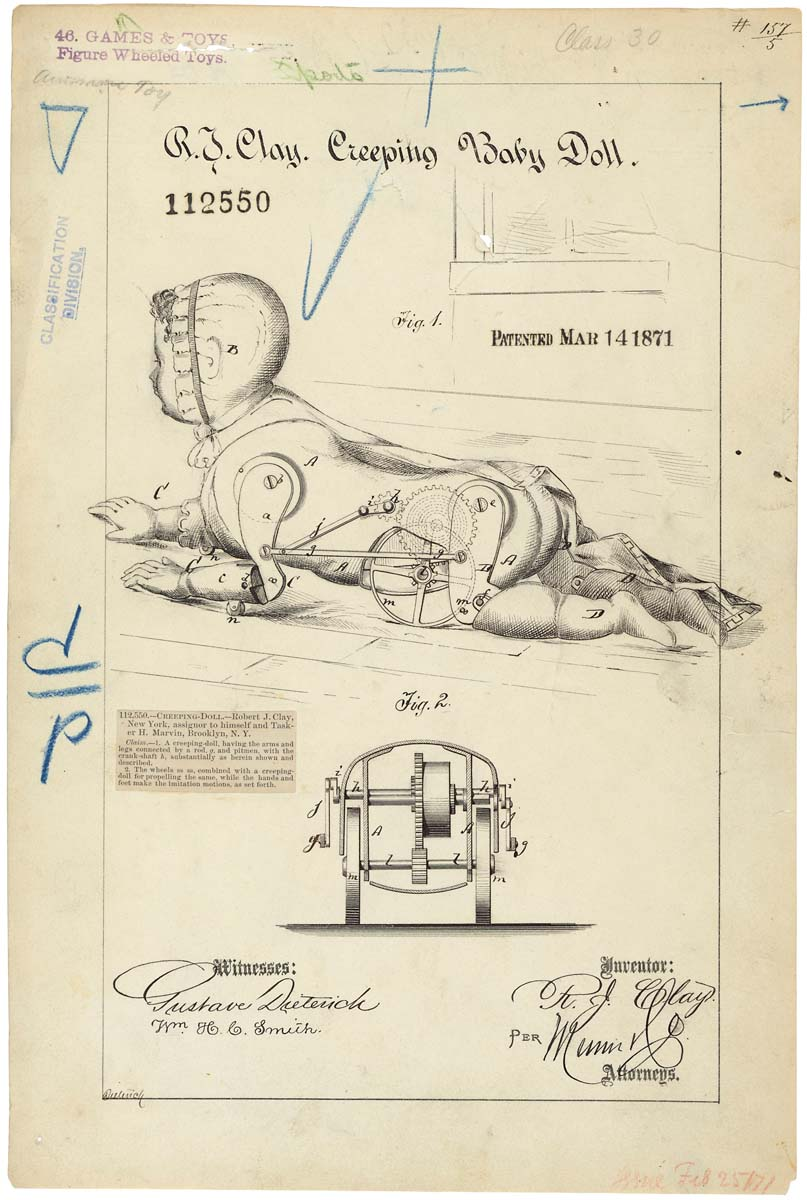 Patent drawing for crawling doll